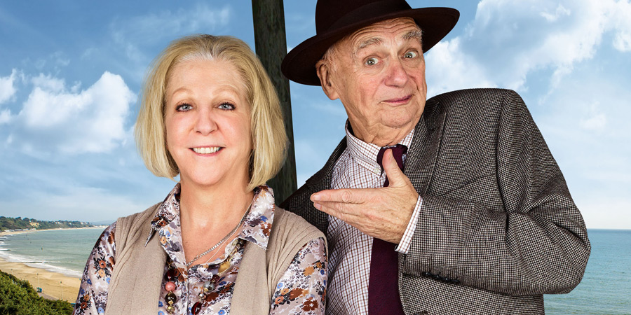 Waiting For God stage tour 2017. Image shows from L to R: Nichola McAuliffe, Roy Hudd.