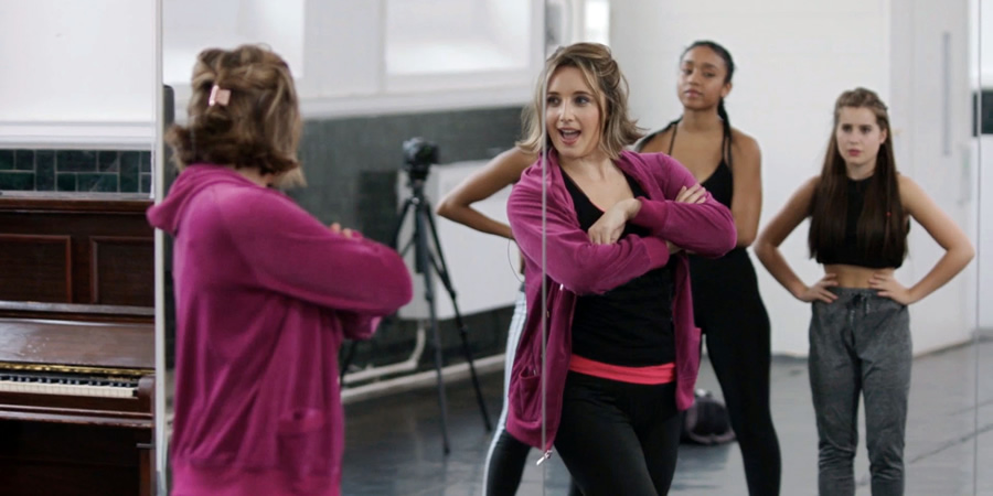Wannabe. Image shows from L to R: Maxine (Lily Brazier), Chantal (Savannah Steyn), Amber (Karla Simone Spence).