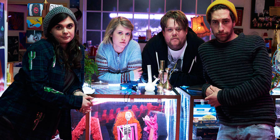 Wasted. Image shows from L to R: Alison (Gwyneth Keyworth), Sarah Durkin (Rose Reynolds), Paul 'Morpheus' Durkin (Danny Kirrane), Kent (Dylan Edwards).