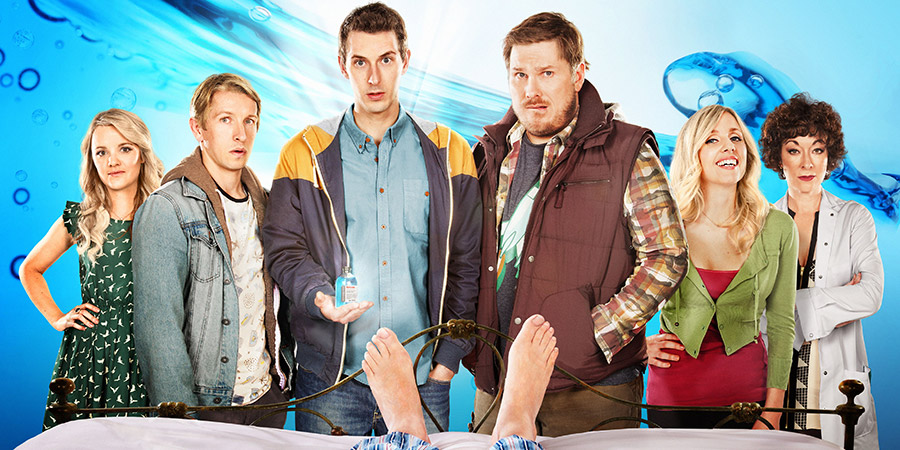 Way To Go. Image shows from L to R: Julia (Laura Aikman), Joey (Ben Heathcote), Scott (Blake Harrison), Cozzo (Marc Wootton), Debbie (Sinead Matthews), Dr Jill (Melanie Jessop). Copyright: BBC.