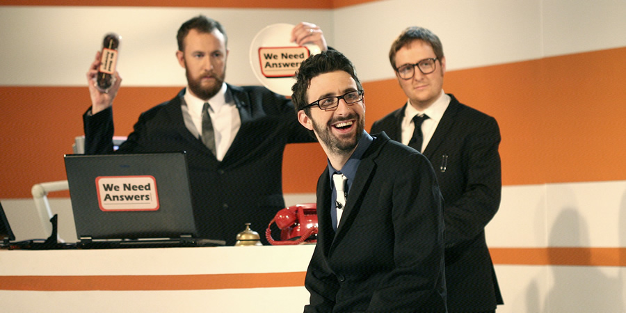 We Need Answers. Image shows from L to R: Alex Horne, Mark Watson, Tim Key. Copyright: BBC.