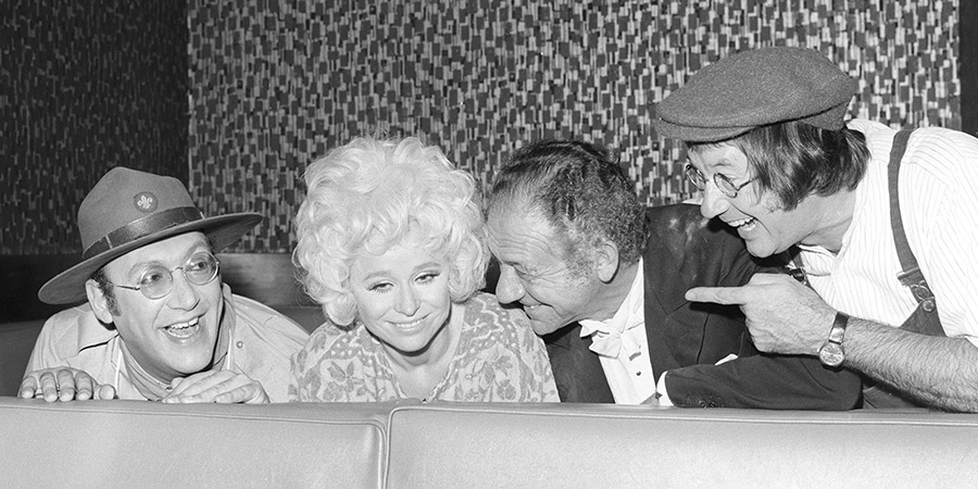 What A Carry On!. Image shows from L to R: Bernard Bresslaw, Barbara Windsor, Sid James, Jack Douglas. Copyright: Associated Television / ITV.