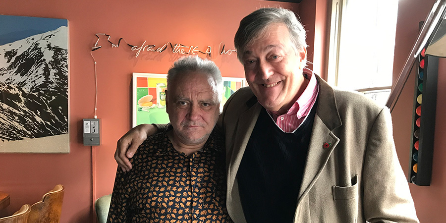 What's The Matter With Tony Slattery?. Image shows from L to R: Tony Slattery, Stephen Fry.