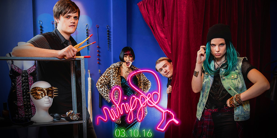 Whipped. Image shows from L to R: Leonard (Chris Kendall), Crystal (Saffron Sprackling), Nathan (William Sebag-Montefiore), India (Annabel Bates). Copyright: Koto Films.