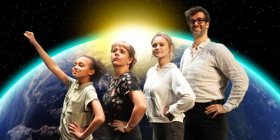 The Wilsons Save The World. Image shows from L to R: Lola (India Brown), Maxine (Kerry Godliman), Cat (Mia Jenkins), Mike (Marcus Brigstocke). Copyright: BBC.
