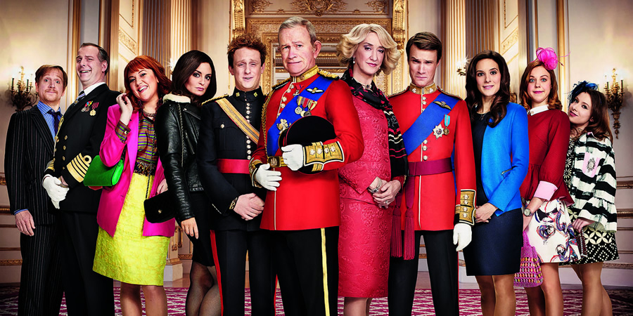 The Windsors. Image shows from L to R: Edward (Matthew Cottle), Andrew (Tim Wallers), Fergie (Katy Wix), Pippa (Morgana Robinson), Harry (Richard Goulding), Charles (Harry Enfield), Camilla (Haydn Gwynne), Wills (Hugh Skinner), Kate (Louise Ford), Beatrice (Ellie White), Eugenie (Celeste Dring). Copyright: Noho Film and TV.