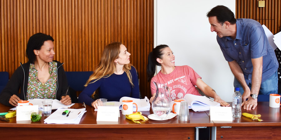 Women On The Verge. Image shows from L to R: Katie (Nina Sosanya), Laura (Kerry Condon), Alison (Eileen Walsh), Pete Thornton.