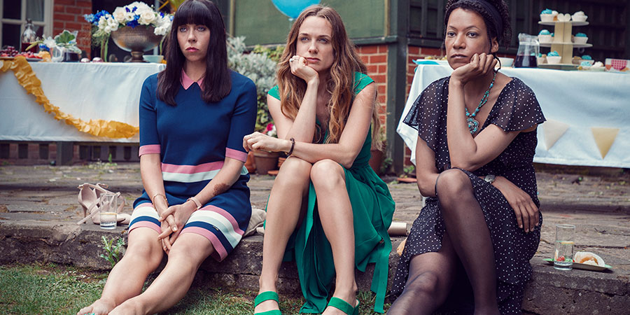 Women On The Verge. Image shows from L to R: Alison (Eileen Walsh), Laura Donegan (Kerry Condon), Katie (Nina Sosanya).