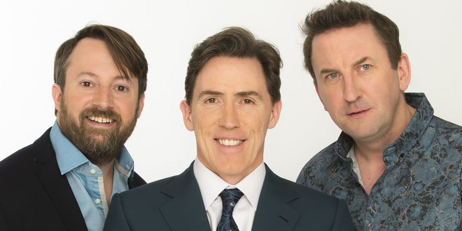 Would I Lie To You?. Image shows from L to R: David Mitchell, Rob Brydon, Lee Mack. Copyright: Zeppotron.