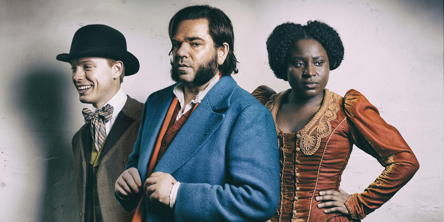Year Of The Rabbit. Image shows from L to R: Freddie Fox, Detective Inspector Rabbit  (Matt Berry), Susan Wokoma. Copyright: Objective Productions.