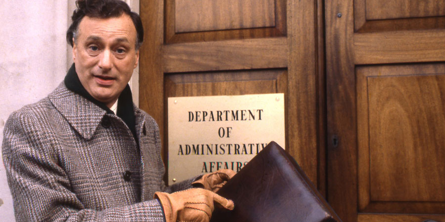 Yes Minister. James Hacker (Paul Eddington). Copyright: BBC.