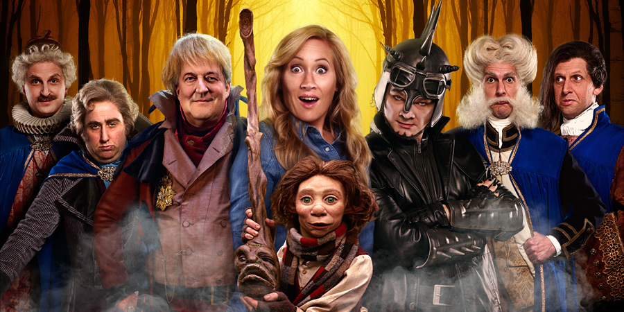 Yonderland. Image shows from L to R: Ben Willbond, Jim Howick, Cuddly Dick (Stephen Fry), Debbie Maddox (Martha Howe-Douglas), Simon Farnaby, Mathew Baynton, Laurence Rickard. Copyright: Working Title Films.