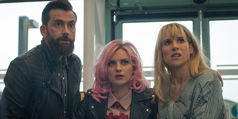You, Me And Him. Image shows from L to R: John (David Tennant), Alex Jones (Faye Marsay), Olivia Miller (Lucy Punch).