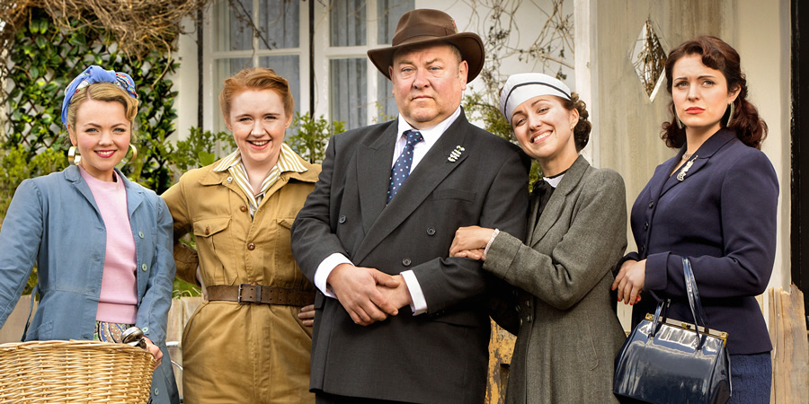 Young Hyacinth. Image shows from L to R: Rose (Katie Redford), Daisy (Katherine Pearce), Daddy (Mark Addy), Hyacinth (Kerry Howard), Violet (Tamla Kari). Copyright: BBC.