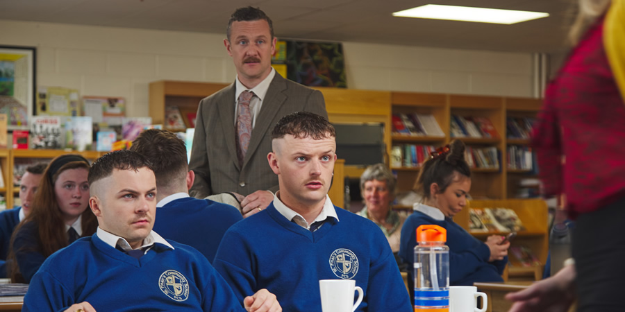 The Young Offenders. Image shows from L to R: Conor MacSweeney (Alex Murphy), Principal Barry Walsh (PJ Gallagher), Jock O'Keeffe (Chris Walley).
