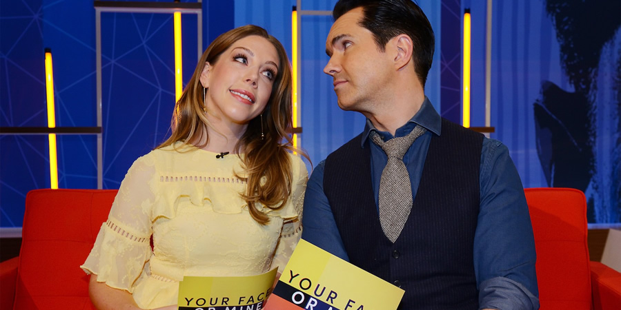 Your Face Or Mine. Image shows from L to R: Katherine Ryan, Jimmy Carr. Copyright: Talkback.