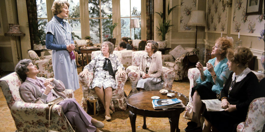You're Only Young Twice. Image shows from L to R: Mildred Fanshaw (Diana King), Miss Milton (Charmian May), Flora Petty (Peggy Mount), Cissie Lupin (Pat Coombs), Dolly Love (Lally Bowers), Katy O'Rourke (Peggy Ledger). Copyright: Yorkshire Television.