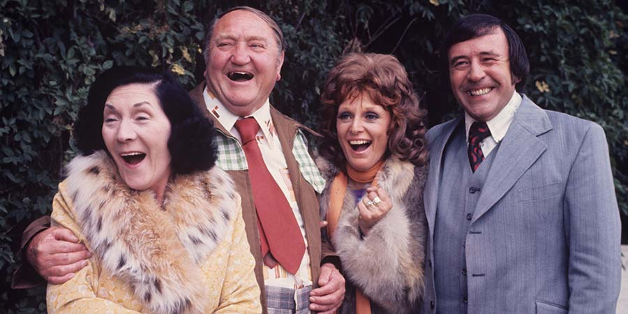 Yus, My Dear. Image shows from L to R: Lil Briggs (Queenie Watts), Wally Briggs (Arthur Mullard), Molly (Valerie Walsh), Benny Briggs (Mike Reid). Copyright: London Weekend Television.