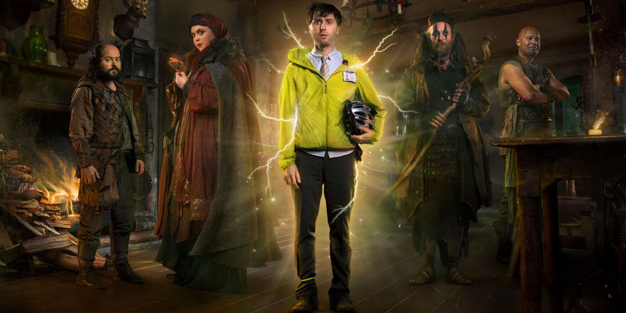 Zapped. Image shows from L to R: Steg (Ken Collard), Barbara (Sharon Rooney), Brian Weaver (James Buckley), Howell (Paul Kaye), Herman (Louis Emerick). Copyright: Black Dog Television / Baby Cow Productions.