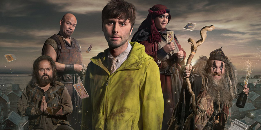 Zapped. Image shows from L to R: Steg (Kenneth Collard), Herman (Louis Emerick), Brian (James Buckley), Barbara (Sharon Rooney), Howell (Paul Kaye). Copyright: Black Dog Television.
