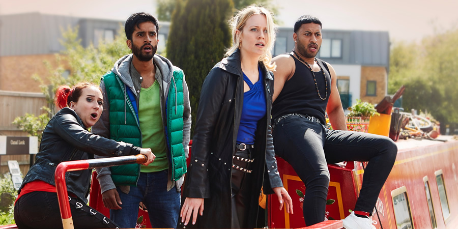 Zomboat!. Image shows from L to R: Kat (Leah Brotherhead), Sunny (Hamza Jeetooa), Jo (Cara Theobold), Amar (Ryan McKen). Copyright: Noho Film and TV.