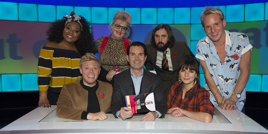 8 Out Of 10 Cats. Image shows from L to R: Paisley Billings, Rob Beckett, Jayde Adams, Jimmy Carr, Joe Wilkinson, Aisling Bea, Jamie Laing. Copyright: Zeppotron.