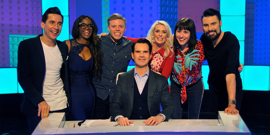 8 Out Of 10 Cats. Image shows from L to R: Russell Kane, Oti Mabuse, Rob Beckett, Jimmy Carr, Sara Pascoe, Maisie Adam, Rylan Clark-Neal. Copyright: Zeppotron.