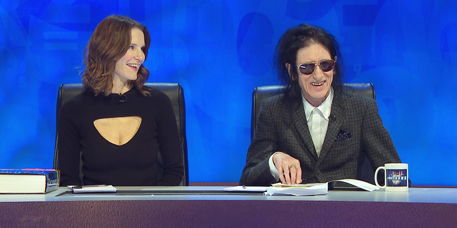 8 Out Of 10 Cats Does Countdown. Image shows from L to R: Susie Dent, John Cooper Clarke.