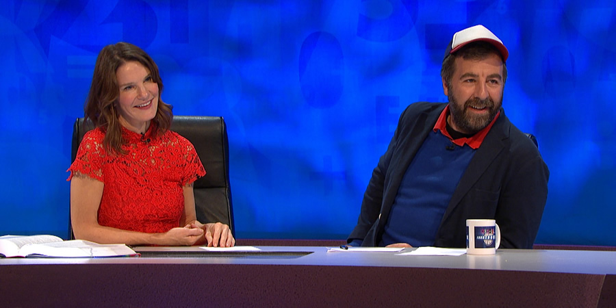 8 Out Of 10 Cats Does Countdown. Image shows from L to R: Susie Dent, David O'Doherty.