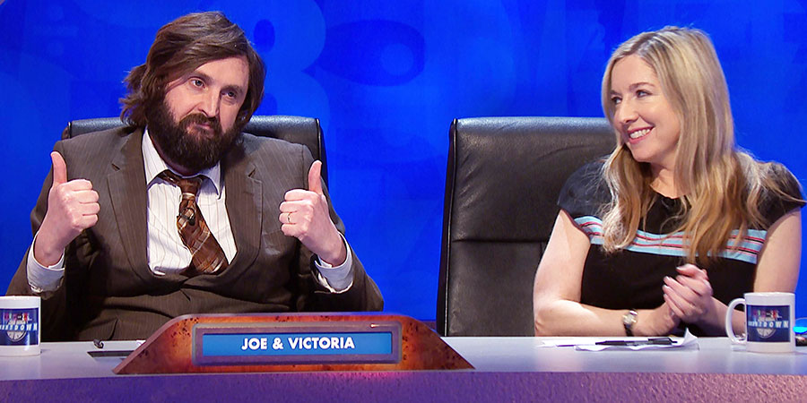 8 Out Of 10 Cats Does Countdown. Image shows from L to R: Joe Wilkinson, Victoria Coren Mitchell. Copyright: Zeppotron.