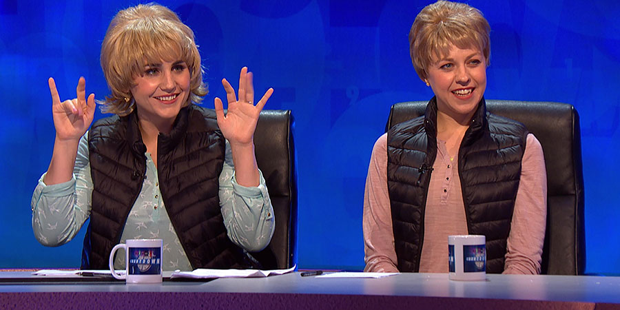 8 Out Of 10 Cats Does Countdown. Image shows from L to R: Natasia Demetriou, Ellie White. Copyright: Zeppotron.