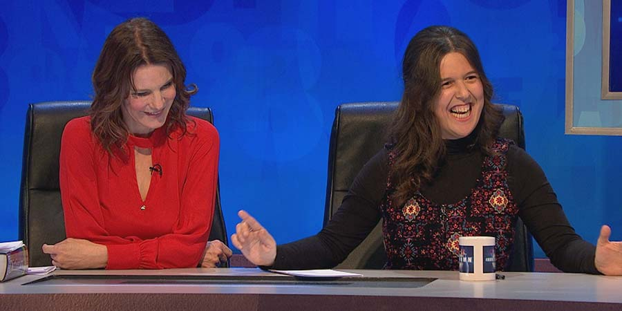 8 Out Of 10 Cats Does Countdown. Image shows from L to R: Susie Dent, Rosie Jones.