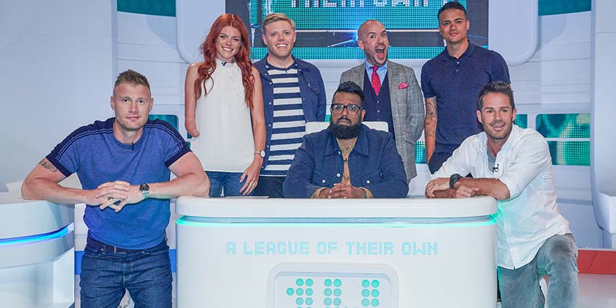 A League Of Their Own. Image shows from L to R: Andrew Flintoff, Lauren Steadman, Rob Beckett, Romesh Ranganathan, Tom Allen, Jermaine Jenas, Jamie Redknapp. Copyright: CPL Productions.