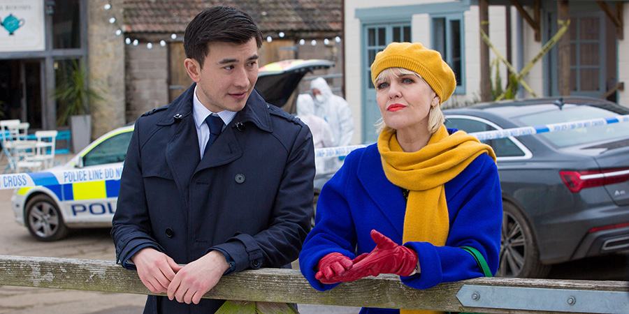 Agatha Raisin. Image shows from L to R: DC Bill Wong (Matt McCooey), Agatha Raisin (Ashley Jensen).