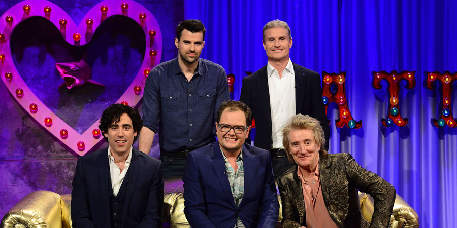 Alan Carr: Chatty Man. Image shows from L to R: Stephen Mangan, Steve Jones, Alan Carr, David Coulthard, Rod Stewart. Copyright: Open Mike Productions.