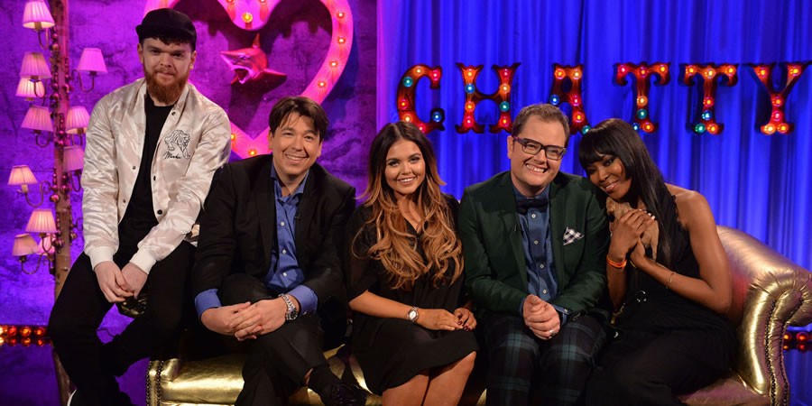Alan Carr: Chatty Man. Image shows from L to R: Jack Garratt, Michael McIntyre, Scarlett Moffatt, Alan Carr, Naomi Campbell. Copyright: Open Mike Productions.