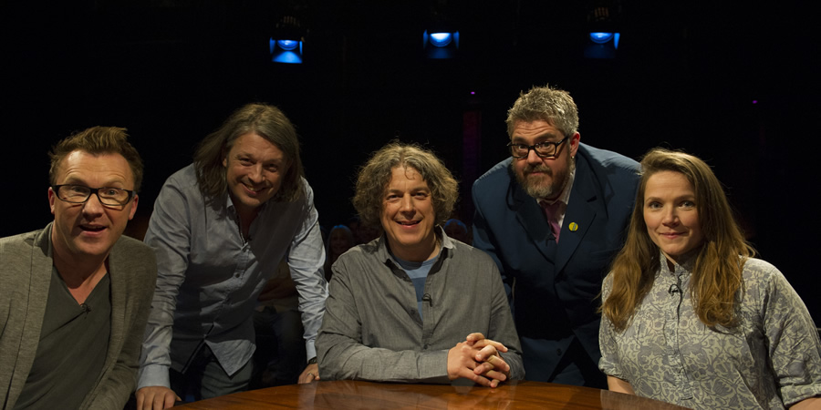 Alan Davies: As Yet Untitled. Image shows from L to R: Jason Byrne, Richard Herring, Alan Davies, Phill Jupitus, Jessica Hynes.