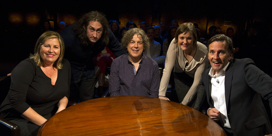 Alan Davies: As Yet Untitled. Image shows from L to R: Liza Tarbuck, Ross Noble, Alan Davies, Josie Long, Colin Lane.