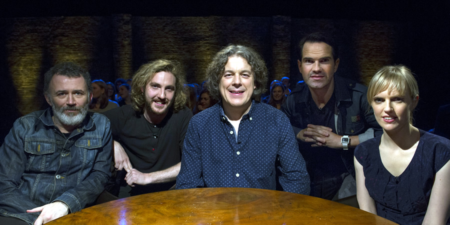 Alan Davies: As Yet Untitled. Image shows from L to R: Tommy Tiernan, Seann Walsh, Alan Davies, Jimmy Carr, Holly Walsh.