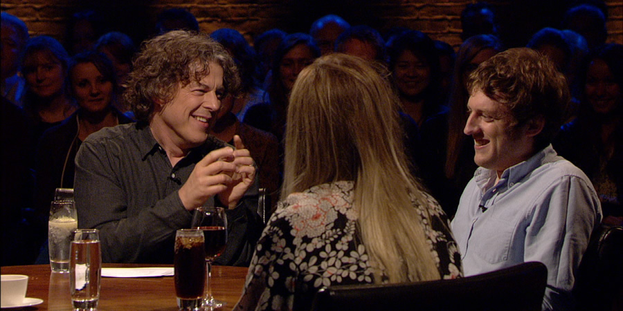 Alan Davies: As Yet Untitled. Image shows from L to R: Alan Davies, Roisin Conaty, Elis James.