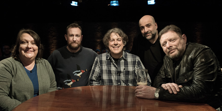 Alan Davies: As Yet Untitled. Image shows from L to R: Kathy Burke, Alex Horne, Alan Davies, Omid Djalili, Shaun Ryder.