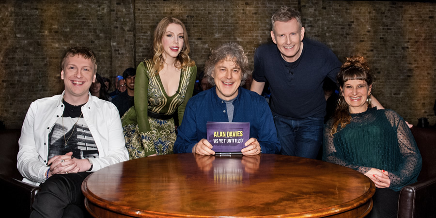 Alan Davies: As Yet Untitled. Image shows from L to R: Joe Lycett, Katherine Ryan, Alan Davies, Patrick Kielty, Annie Siddons. Copyright: Phil McIntyre Entertainment.