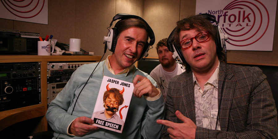 Mid Morning Matters With Alan Partridge. Image shows from L to R: Alan Partridge (Steve Coogan), Sidekick Simon (Tim Key), Jasper Jones (Reece Shearsmith). Copyright: Baby Cow Productions.