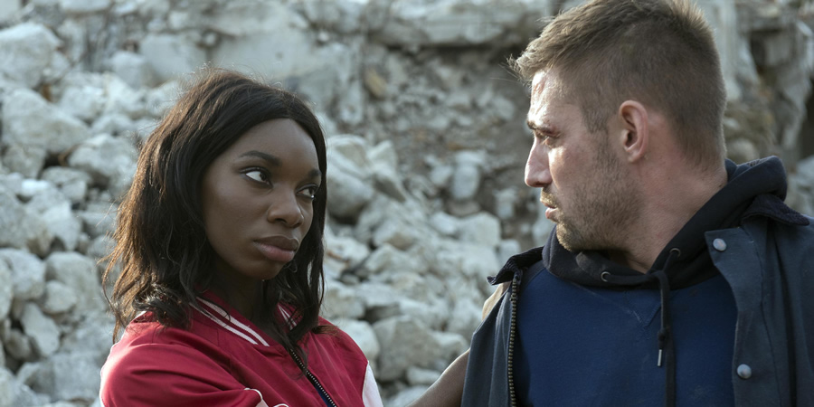 The Aliens. Image shows from L to R: Lilyhot (Michaela Coel), Lewis (Michael Socha). Copyright: Clerkenwell Films.