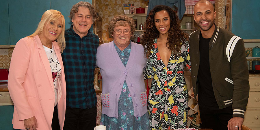 All Round To Mrs. Brown's. Image shows from L to R: Cathy Brown (Jennifer Gibney), Alan Davies, Mrs Brown (Brendan O'Carroll), Rochelle Humes, Marvin Humes.