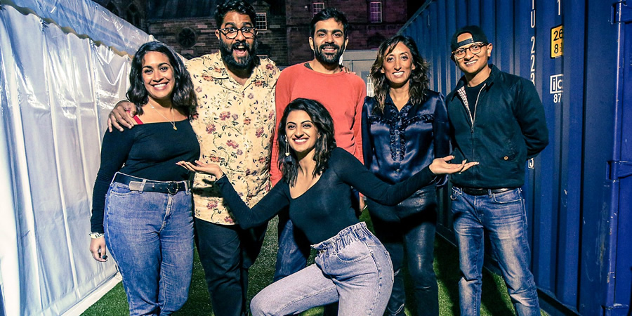 Asian Network Comedy. Image shows from L to R: Emily Lloyd Saini, Eshaan Akbar, Harpz Kaur, Sumit Anand, Shazia Mirza, Arnab Chanda. Copyright: BBC.