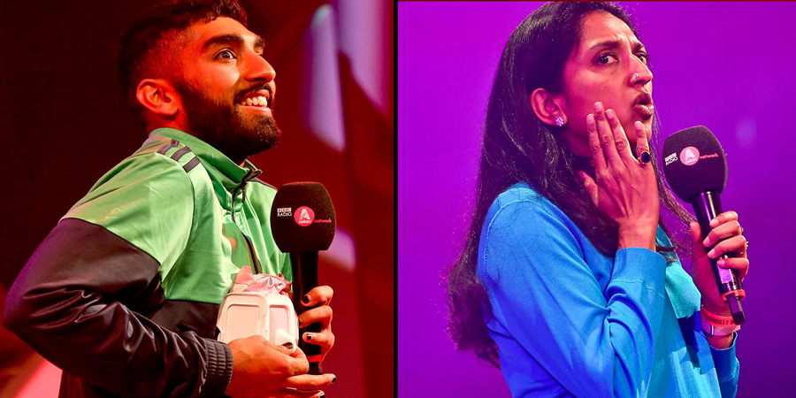 Asian Network Comedy. Image shows from L to R: Mawaan Rizwan, Sindhu Vee. Copyright: BBC.
