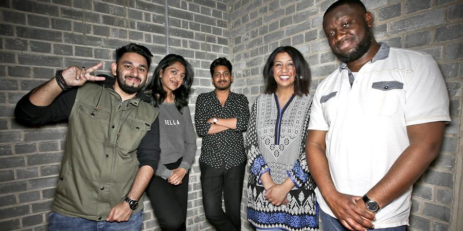 Asian Network Comedy. Image shows from L to R: Ali Shahalom, Sindhu Vee, Ahir Shah, Isma Almas, Funmbi Omotayo. Copyright: BBC.