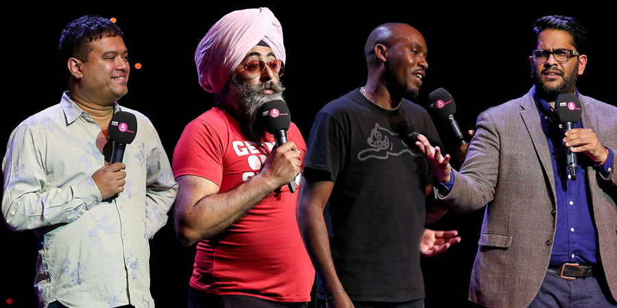 Asian Network Comedy. Image shows from L to R: Paul Sinha, Hardeep Singh Kohli, Dane Baptiste, Eshaan Akbar. Copyright: BBC.