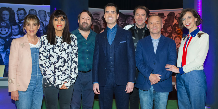 The Big Fat Quiz Of Everything. Image shows from L to R: Mel Giedroyc, Claudia Winkleman, David Mitchell, Jimmy Carr, Jonathan Ross, Bob Mortimer, Kristen Schaal. Copyright: Hot Sauce.